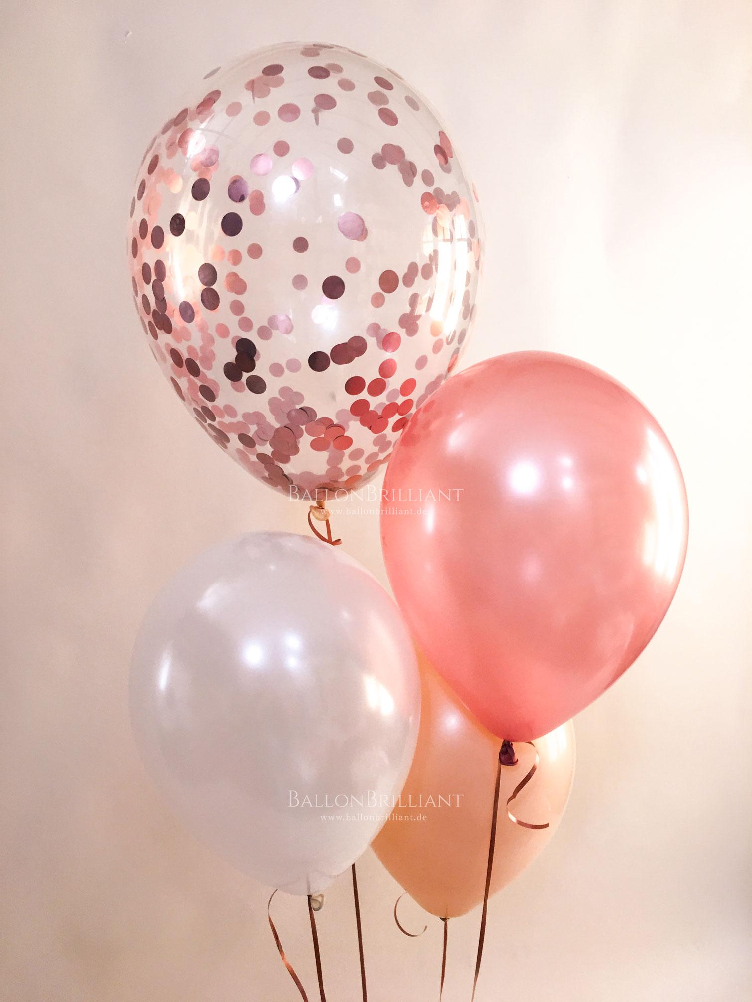 BallonBrilliant Ballonstrauß mit Konfetti Apricot Peach
