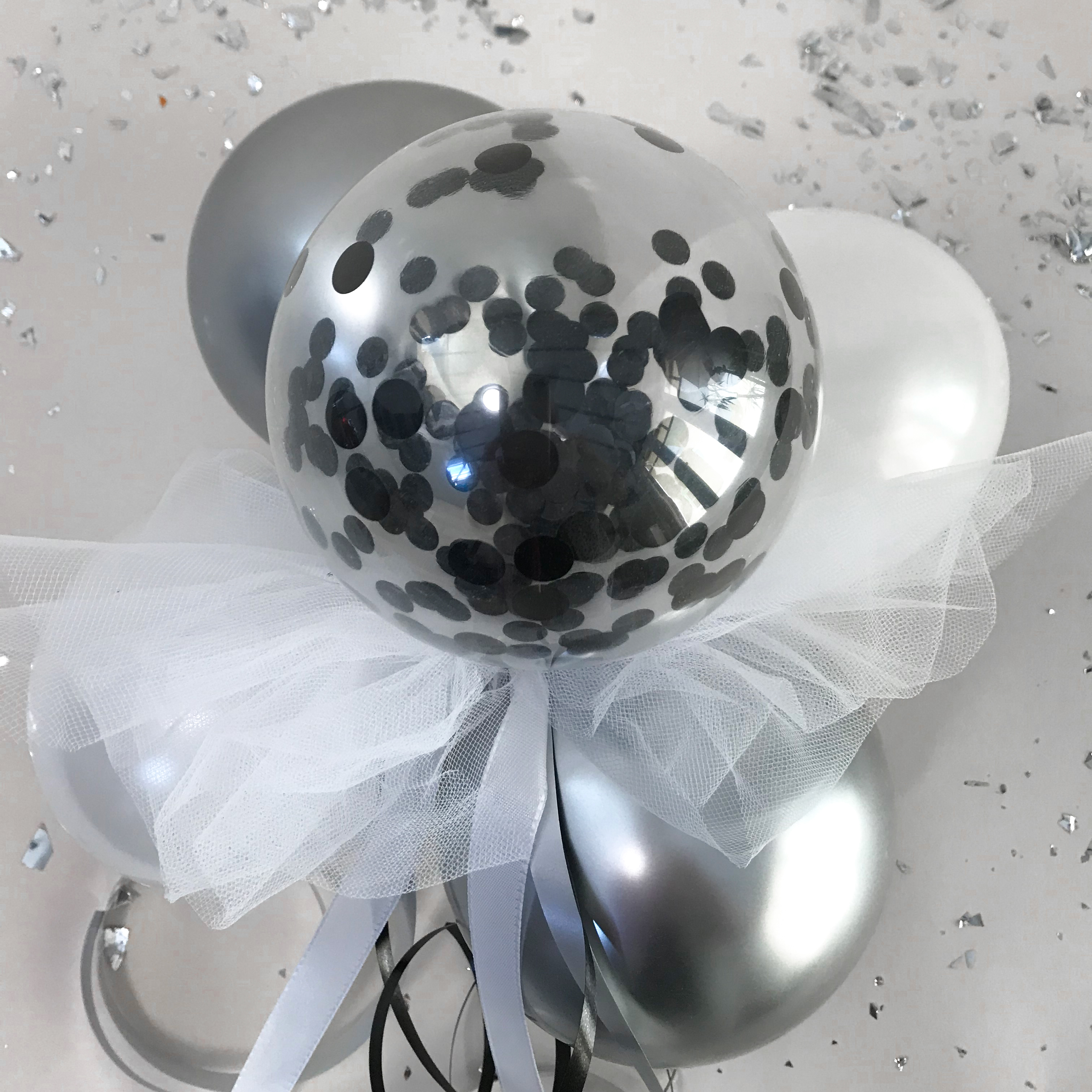 Silber / Weiß / Schwarz Konfetti (Nr. 6)